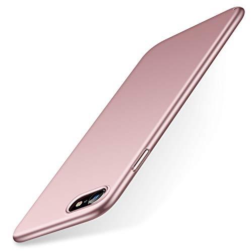 TORRAS Ultra Dünn iPhone SE 2020/8/7 Hülle mit Panzerglas [1 Hülle + 1 Panzerglas] Slim Case für iPhone SE Hülle/iPhone 8 Hülle/iPhone 7 Hülle Handyhülle für iPhone 7/8/SE 2020 - Rose Glod