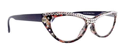 The Lynx, Cat Eye Full Top Women Bling Reading Glasses Adorned w Clear Genuine European Crystals, Red Black Brown Tortoise Frame. NY Fifth Avenue.