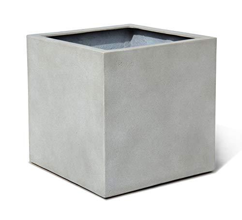 VAPLANTO Pflanzkübel Cube 40 Beton Hell Grau Quadratisch * 40 x 40 x 40 cm * 10 Jahre Garantie