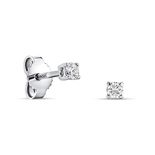 Miore 4 prong stud earrings in 14 kt 585 white gold with brilliant cut diamonds 0.12 ct
