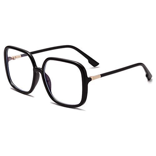 VEVESMUNDO Blaulichtfilter Brillen Ohne Sehstärke Groß Nerdbrille Rechteckig Modern Klassische Anti Müdigkeit Computerbrille Anti Blaulicht Brillenfassung für damen (Durchsichtig Schwarz)