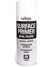 Outletdelocio. Vallejo 28010. Spray Pintura Imprimacion Blanco de grano extrafino, para superficies de plastico o metal. 400 ml