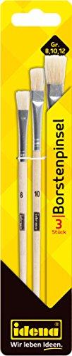 Idena 626055 - Pinselset, Borsten, 3 teilig, Größe 8/10/12, unlackiert, 1 Set