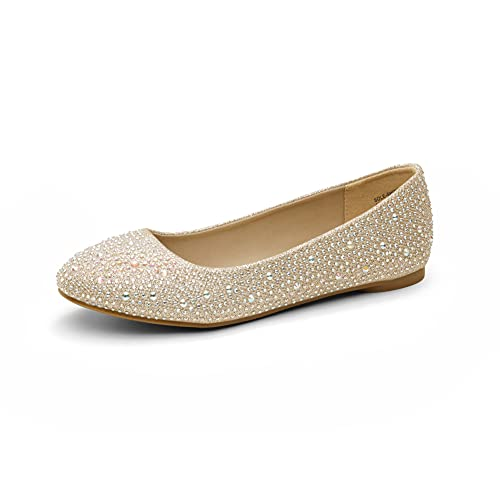 DREAM PAIRS Women's Sole-Shine Gold Rhinestone Slip On Ballet Pumps Ballerina Flats Shoes Size 12 US/ 10 UK