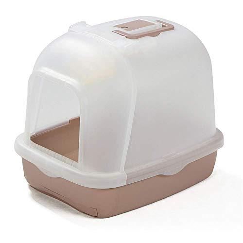 EREW Caja plástica de la arena del gato, inodoro del gato, caja de arena semi-cerrada a prueba de salpicaduras del gato, cuenca automática desodorizante suministros del gato, 45×54×41cm
