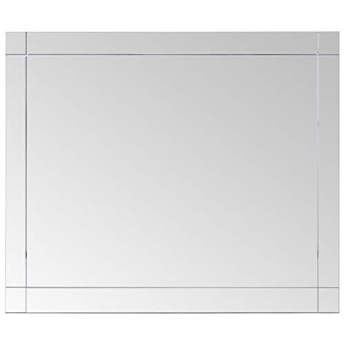 vidaXL Wandspiegel Spiegel Badspiegel Kosmetikspiegel Dekospiegel Schminkspiegel Badezimmerspiegel Flurspiegel Hängespiegel 80x60cm Glas