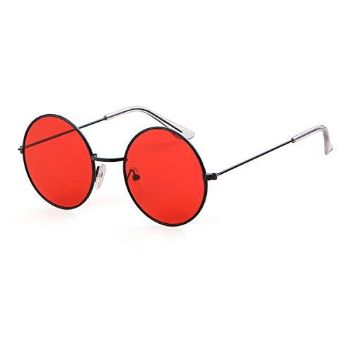John Lennon Party Sunglasses Round Hippie Shades Colored Lenses Sun Glasses Steampunk (Black Red, 51)