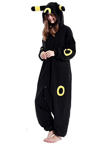 Adult Umbreeon Onesie Pajamas Cosplay Animal Homewear Sleepwear Jumpsuit Costume for Women Men