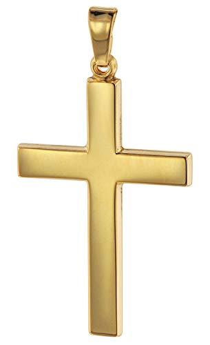 trendor Kreuz-Anhänger Gold 750 (18 Karat) 28 mm Damen und Herren Goldanhänger, modischer Kreuzanhänger, Geschenkidee, eleganter Schmuck aus Echtgold 75314