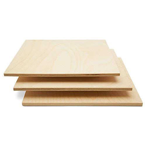 Baltic Birch Plywood, 6 mm 1/4 x 12 x 12 Inch Craft Wood, Box of 25 B/BB Grade Baltic Birch Sheets, Perfect for Laser, CNC Cutting and Wood Burning, by Woodpeckers