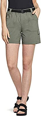 CQR Women's Hiking Shorts, Quick Dry Lightweight Travel Shorts, UPF 50+ UV/SPF Stretch Camping Shorts, Outdoor Apparel, Driflex(wxs415) - Olive, X-Small