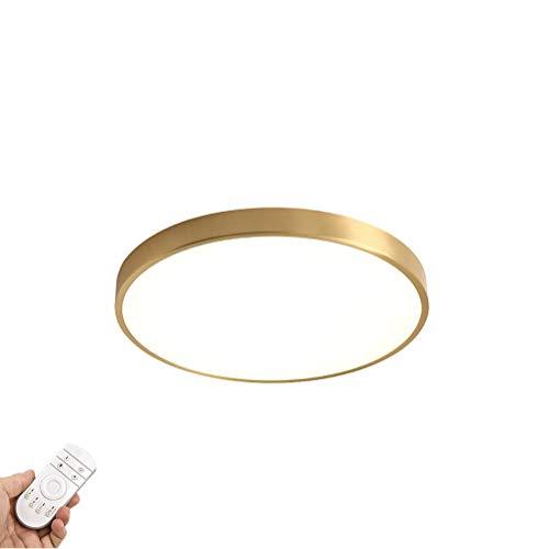 LED Oro Lámpara De Techo,Moderno Dormitorio Iluminación Plafón Para Con Blanco Acrílico Sombra Regulable Lámpara De Techo Para Pasillo Cocina,Redondo Montaje Empotrado-Sintonizado remotamente 40cm(16i