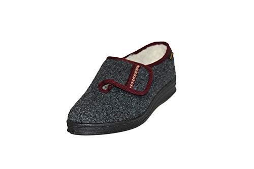 Intermax - Zapatillas de ir por casa para mujer con cierre de velcro, color gris, talla 37