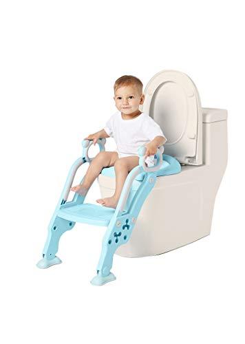 GUTI Riduttore WC con Scaletta Dotata di Scalino Resistente, largo e antiscivolo, cerchione morbido, Kit Toilette Trainer Step Up con Cuscino Tenero Modello Universale (Azzurro)