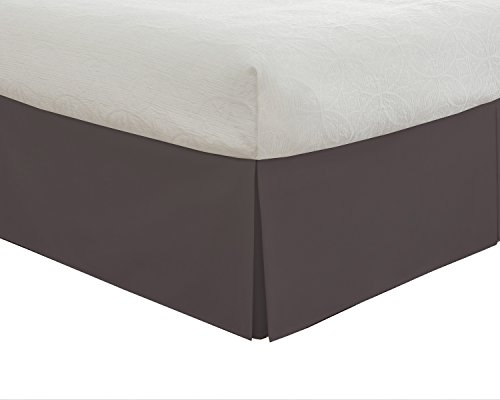 Lux Hotel Taillierter Bettrock, klassisch, 35,6 cm Länge, plissiert, Queensize, Grau