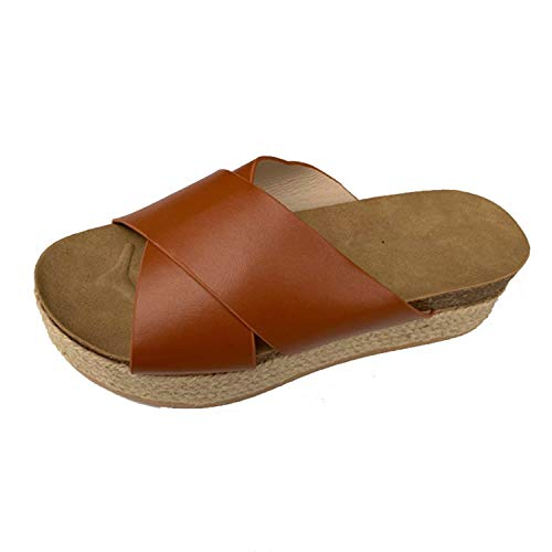 NDJqer Flops Women Beach Female Slides Fasten Heels Slippers Casual Ladies Shoes Brown 10.5