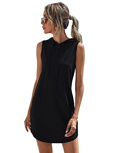 SheIn Vestido de verano para mujer, sin mangas, con capucha, cordón, corto, informal, camiseta. Negro M