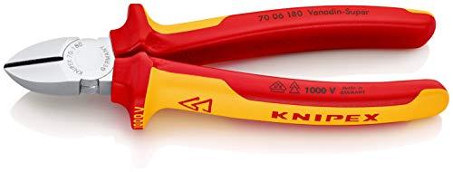Preisvergleich Produktbild KNIPEX 70 06 180 Seitenschneider verchromt isoliert mit Mehrkomponenten-Hüllen,  VDE-geprüft 180 mm