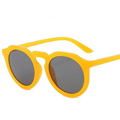 FJCY Gafas de Sol Redondas con gradiente para Hombres y Mujeres Gafas de Sol para Hombres y Mujeres Gafas de Moda Retro-6-Jh18021-C4