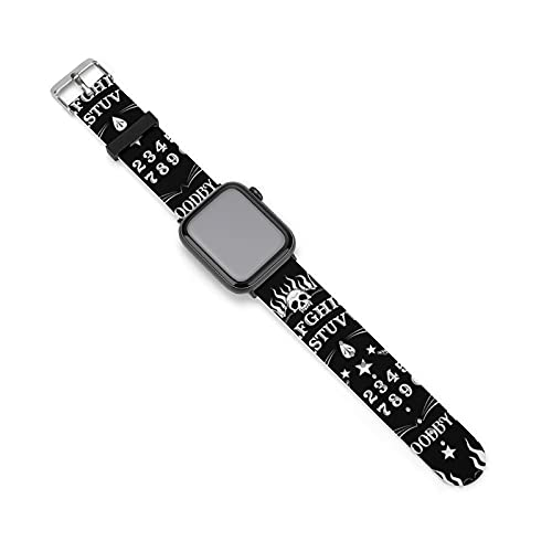 Women Men Soft Silicone Watch Band Compatible with Apple Watch 38mm 40mm 42mm 44mm Sports Replacement Wristband Strap (Skull Skeleton Ouija Board Tattoo Black)