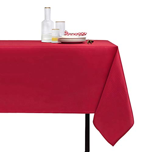 Nonbrand Rectangle Waterproof Tablecloth - Stain Resistant and Wrinkle Free Christmas Table Cloths Washable Polyester Table Cover (60x84 inch, Red)