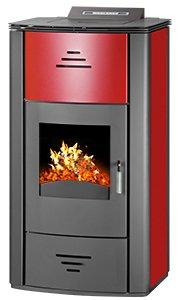 Pelletofen wasserführend Vittoria PBS 7-18 kW , Kessel , Bafa Förderung 2000 EUR , Farbe: rot