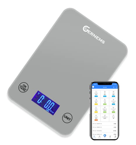 Gernems Smart Bluetooth Küchenwaage für digitale Professionelle Küche, Electronische Waage mit LCD Display digitale hoch Präzision (1g-5kg), Haushalt scale zum Backen und Kochen verwenden (Grau)