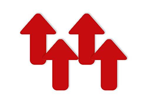 4 x Fußbodenaufkleber/Aufkleber Boden Pfeil Kontur rot 27,5 x 40 cm Antirutsch für den Innenbereich rutschhemmend Wegweiser für Ihr Lokal, Geschäft, Laden, Store, Betrieb, Firma