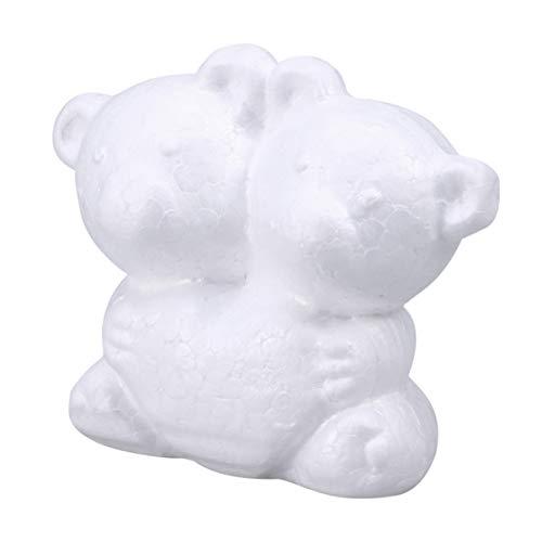 ABOOFAN 10 Stück 9 cm weiße Schaumstoff-Bär-Formen, Modellierung, Styropor-Bär, Tier-Figuren, DIY Styropor-Ornamente für Blumengestecke, Kunst, Graffiti