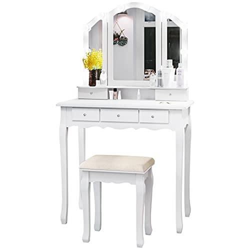 Tiptiper Tocador con iluminación en 3 colores, tocador con espejo plegable de 3 piezas y 10 bombillas LED, mesa cosmética con taburete y 5 cajones, para mujer y niña, moderno, color blanco