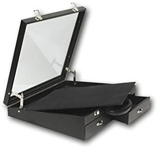 "Black Leatherette Angled Display Jewelry Carrying Case ~ 16 1/2"" x 15"" x 4 1/2"""