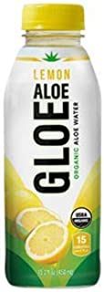 Aloe Gloe Organic Aloe Water, Lemon, 15.2-Ounce (Pack of 12)