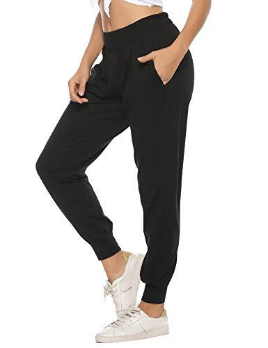 Hawiton Pantalon Chandal Mujer Largos Pantalones de Deporte Algodón Pantalones Deportivos Yoga Fitness Jogger