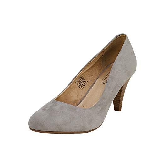 Fitters Footwear That Fits Damen Pump Princess Microfibre Pumps mit bequemem Lederfutter Übergröße (44 EU, grau)