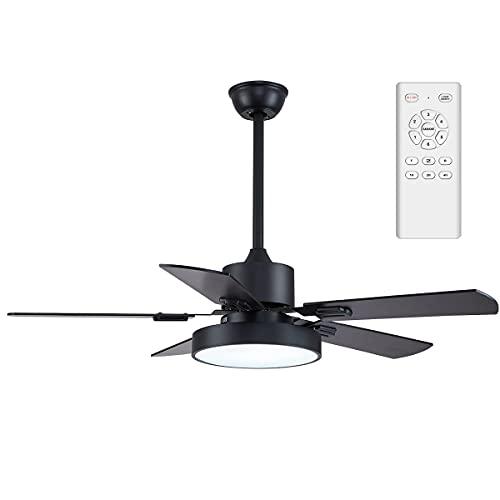 ventilatore da soffitto 6 pale 5 velocità Ventilatore da soffitto con LED illuminazione motore reversibile senza rumore