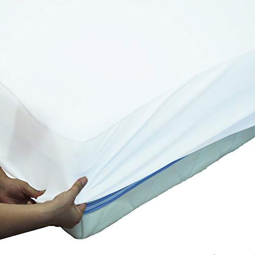 webwarenhaus wasserdichte Matratzenschoner atmungsaktive Molton Betteinlage 11 Größen wählbar 100% Baumwolle Matratzenauflage Rundumgummi (Spannbettlaken) 100 x 200cm