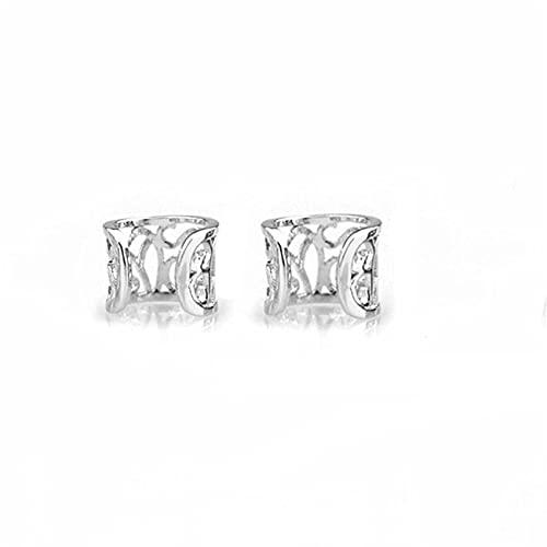 Ear Clip Ear Cuff Orecchini cartilaginei non perforanti Orecchini non forati per forniture da donna, argento 2 pezzi