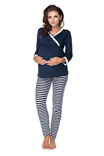 Selente Mummy Love 0150 Umstands-Schlafanzug (Made in EU) Pyjama/Nachtwäsche-Set für die Schwangerschaft und Stillzeit, Dunkelblau/Weiß gestreift, Gr. S-M