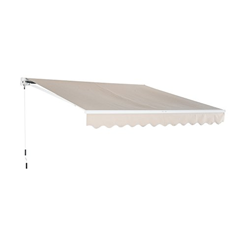 Outsunny 13' x 8' Patio Retractable Awning Manual Exterior Sun Shade Deck Window Cover, Beige