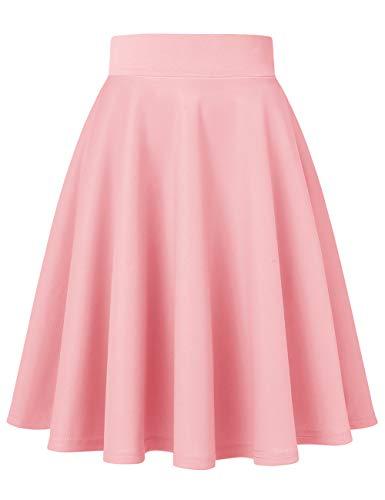 MuaDress 9002 Damen Mädchen Basic Kurz Rock Solide Glocken dehnbaren informell Röcke Rosa Knielang XL