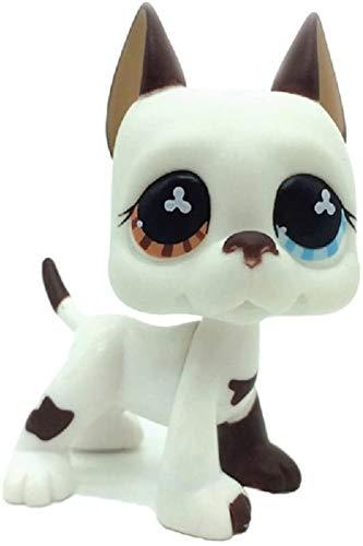N/N Littlest Pet Shop, LPS Toy Rare White & Brown Great Dane Dog Puppy Blue Eye Toy