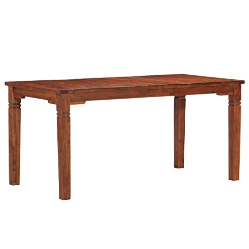 vidaXL Madera Maciza de Acacia Mesa de Comedor Muebles Salón Cocina Casa Sala de Estar Fácil de Montar Colocar Artículos Celebrar 160x80x76cm