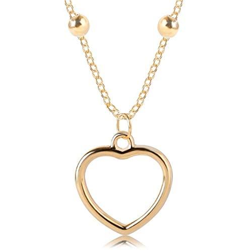 Lege Leuke Romantische Hanger Ketting Holle Hart Gevormde Hanger Ketting Vrouwelijke Goud Kleur Sieraden