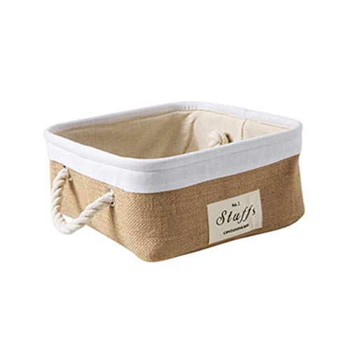 Heding Thicken Storage Basket, Jute Material With Handle Tissue Storage Basket Nursery Baskets For Most Shelves (Color : C)
