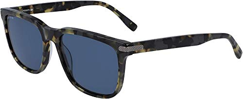 Lacoste L898s - anteojos de sol rectangulares para hombre, Tortuga/Azul Sólido, 56 mm