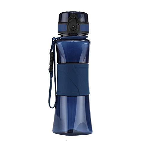 Yuan Ou Borraccia Termica Bottiglia d'Acqua Shaker per proteine Creativo 6 Colori Campo Sportivo Tour Palestra My Drink Bottle Bicchieri in plastica Portatile Blu 350ml