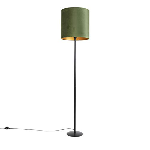 QAZQA Landhaus/Vintage/Rustikal Botanische Stehlampe schwarz mit grünem Schirm 40 cm - Simplo/Innenbeleuchtung/Wohnzimmerlampe/Schlafzimmer Textil/Stahl Länglich/Zylinder/Rund LED geeigne