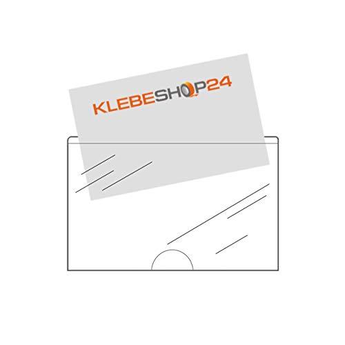Visitenkartentaschen selbstklebend | Mit Daumenausstanzung unten | Transparent | 95 x 60 mm | Breite Seite offen | Menge wählbar