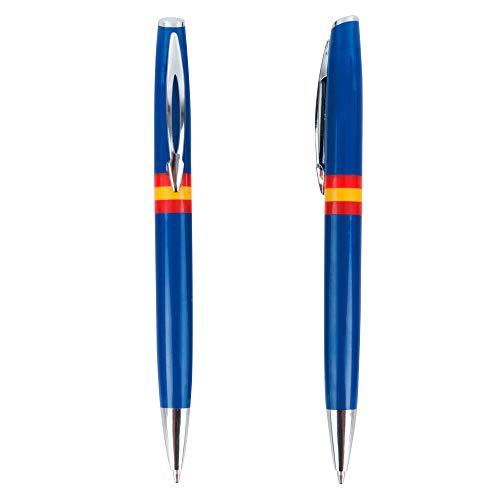 Verpakking met 10 Boligrafen in blauw met de Spaanse vlag: draaisysteem en blauwe inkt als voordelig cadeau.
