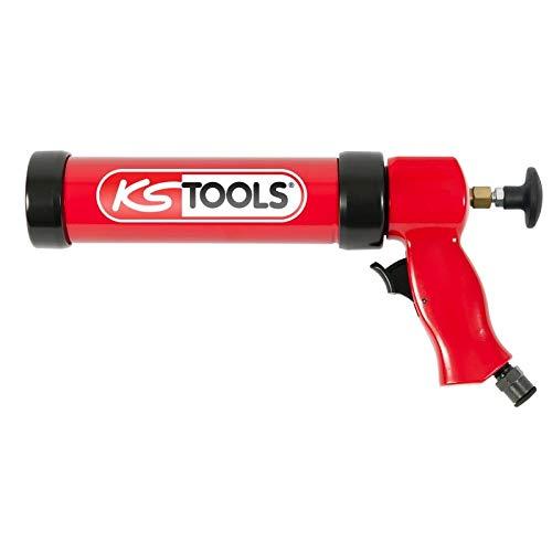 KS Tools 515.3915 Pneumatische Silikonpistole, 310 ml, mit Kolben, Rot